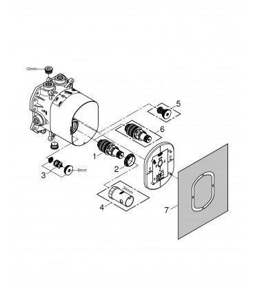 Mecanismo y sistema empotrado Grohe Rapido T p int universal termostatos emp