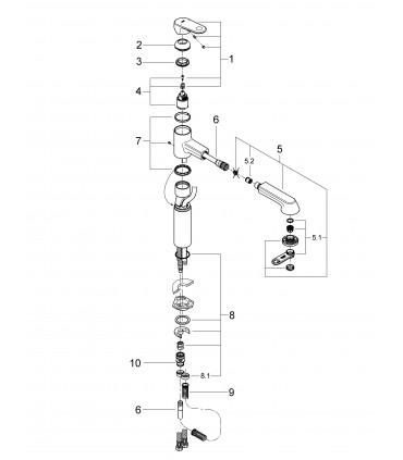 Grifo de cocina Grohe Europlus fregadero caño alto extraíble (33933002)