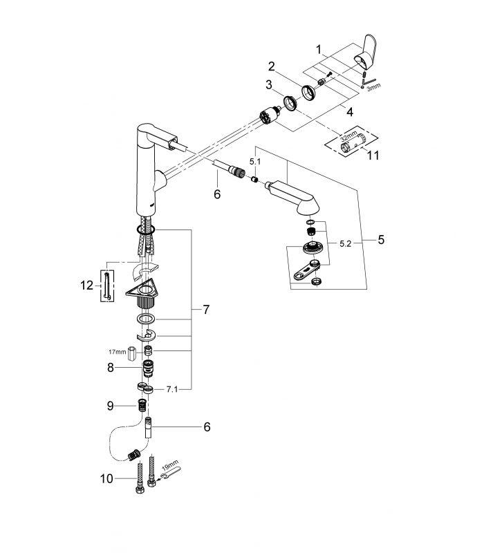 Grohe k7 monomando de fregadero 32176000 oferta online - Grifo grohe cocina extraible ...