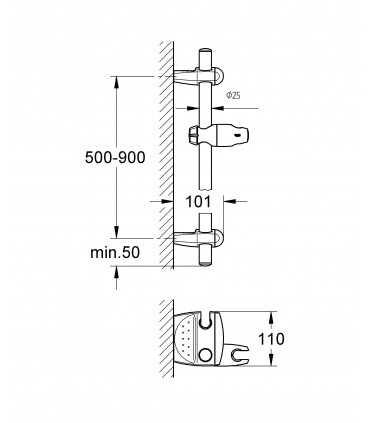 Sistema de ducha Grohe Movario Barra de Ducha 90Cm