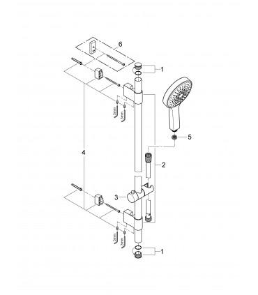 Sistema de ducha Grohe P&S Cosmo 130 conj.ducha 900 9,5l 4j (27734000)