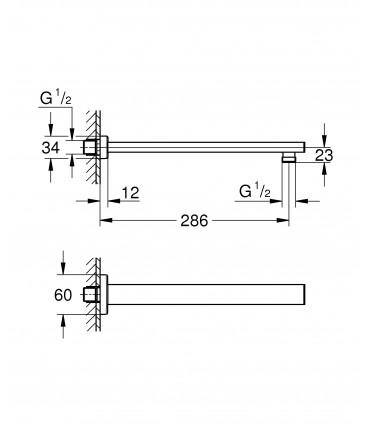 Sistema de ducha Grohe Brazo de ducha cuadrado de 286 mm