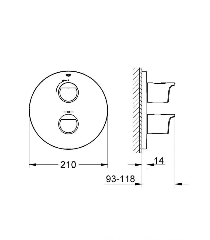 Grohe grohtherm 2000 termostato de ducha 19354001 for Termostato para ducha