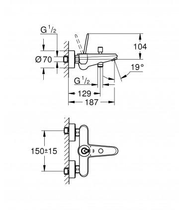 Grifería para baño Grohe Eurodisc Joystick monomando baño ducha (23431LS0)
