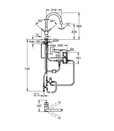 """Monomando de fregadero electrónico Grohe Minta Touch de 1/2"""""""