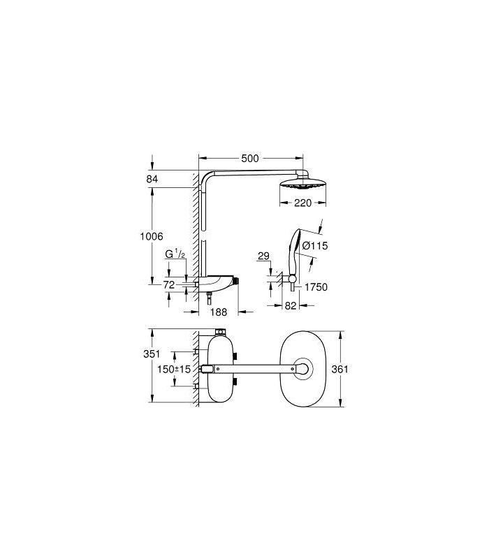 grohe rainshower system smartcontrol 360 mono ref 26361000. Black Bedroom Furniture Sets. Home Design Ideas