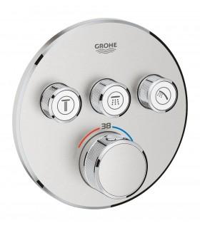 Termostato Smartcontrol 3 salidas redondo Supersteel mate Grohe (29121DC0)