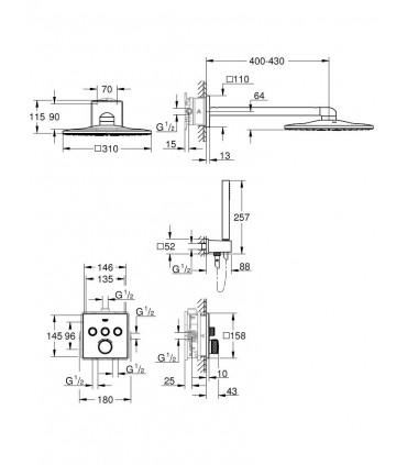 Bundle 2: SmartControl Termostato 3, cuadrado Grohe (34706000)