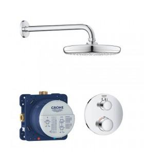 Grohe Conjunto completo Grohtherm Round termostato empotrado2 vias con ducha mural 210 mm (34726000)