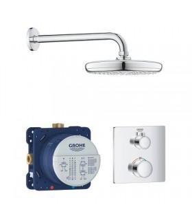 Grohe Conjunto completo Grohtherm Square termostato empotrado2 vias con ducha mural 210 mm (34728000)