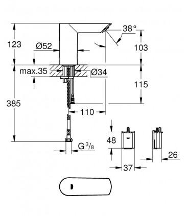 Grohe Bau cosmopolitan E grifo electronico a tension (36452000)